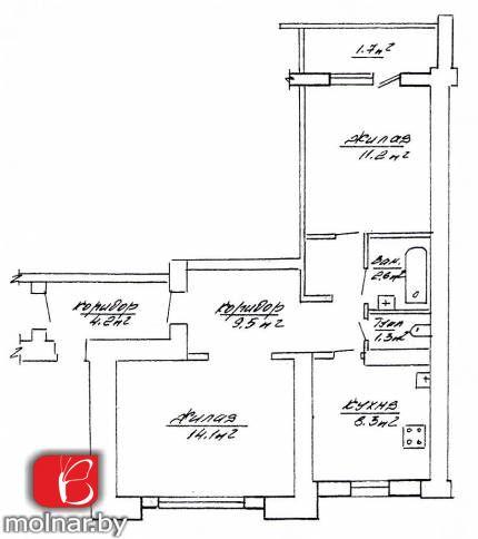 квартира 2 комнаты по адресу Гродно, Декабристов  ул