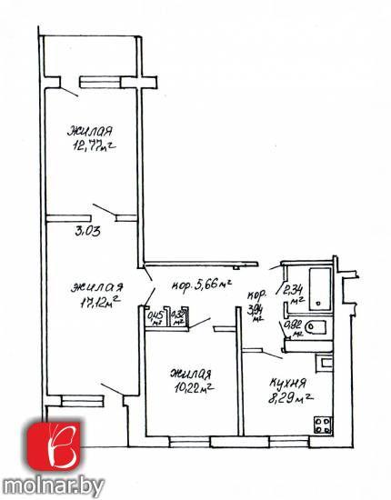 квартира 3 комнаты по адресу Минск, Асаналиева ул