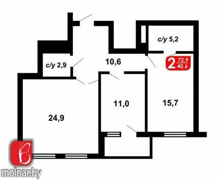 квартира 2 комнаты по адресу Минск, Пионерская ул