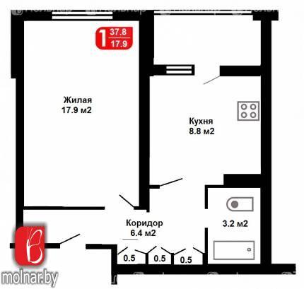 Уютная однокомнатная квартира с кухней 9 метров в хорошем месте.