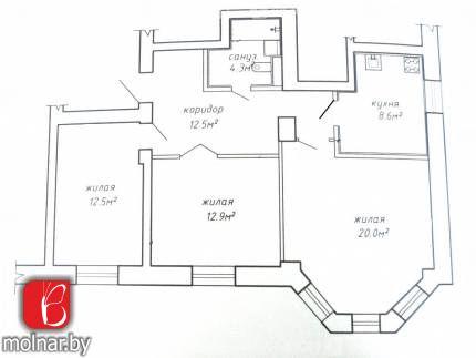 Продается 3-х комнатная  квартира в центре г.Молодечно. ул.Томилина