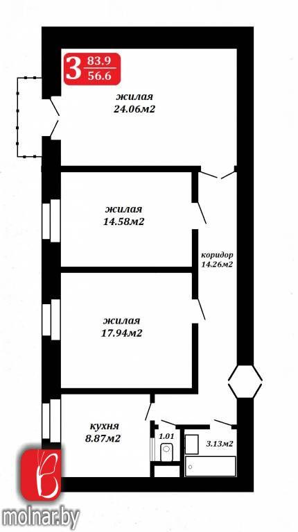 квартира 3 комнаты по адресу Минск, Маркса ул