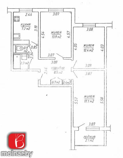3х комнатная квартира в Веснянке