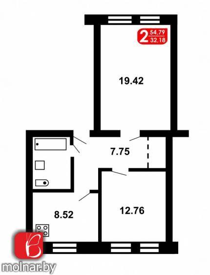, 3  Продается светлая и просторная 2-комнатная СТАЛИНКА в тихом и зелёном районе