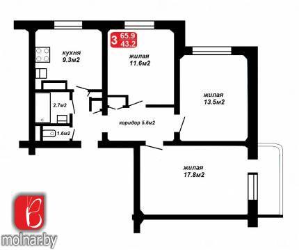 , 44  Продается 3-х комнатная квартира по ул