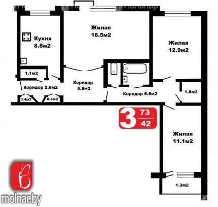 Продается 3-комнатная квартира в г.Гродно по ул.Фомичева,12