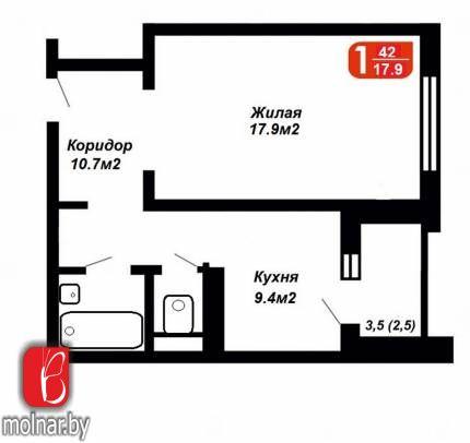 квартира 1 комната по адресу Минск, Горецкого ул