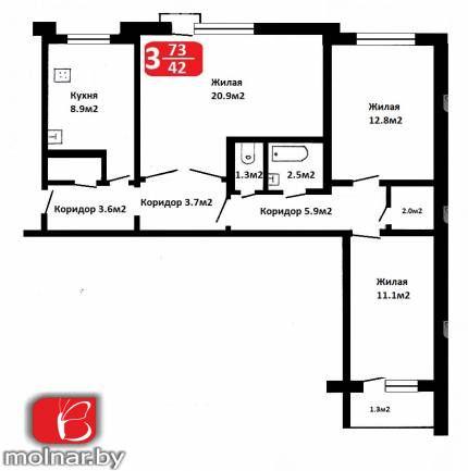 квартира 3 комнаты по адресу Гродно, Кутузова  ул