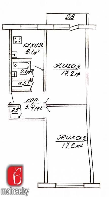 Продаётся большая двухкомнатная квартира в г.Гродно на ул.О.Соломовой40.