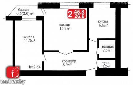 квартира 2 комнаты по адресу Гродно, Гданьская ул