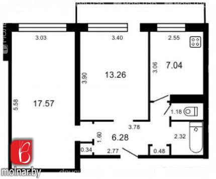 Двухкомнатная квартира в кирпичном доме, Менделеева, д.1