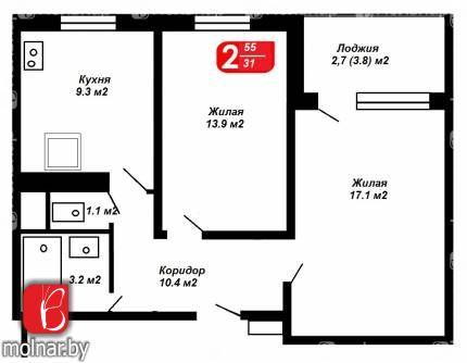 Продается 2-х комнатная квартира в новостройке