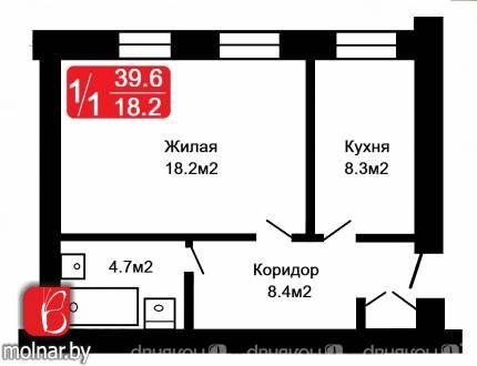 квартира 1 комната по адресу Молодечно, 17 Сентября  ул