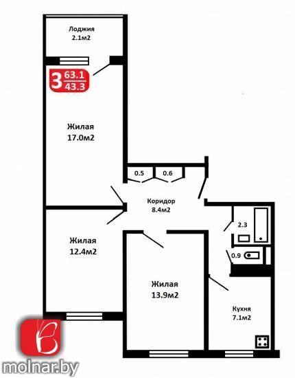 квартира 3 комнаты по адресу Минск, Сухаревская ул