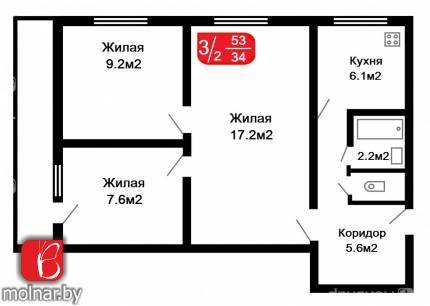 Продам 3-х комнатную квартиру в Чижовке. ул.Голодеда,65