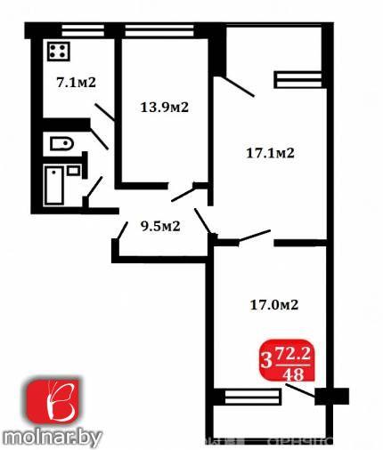 Продаётся трехкомнатная квартира в Серебрянке. пр.Рокоссовского,114