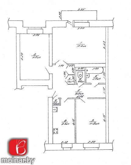 Трёхкомнатная квартира в кирпичном доме в г.Логойск