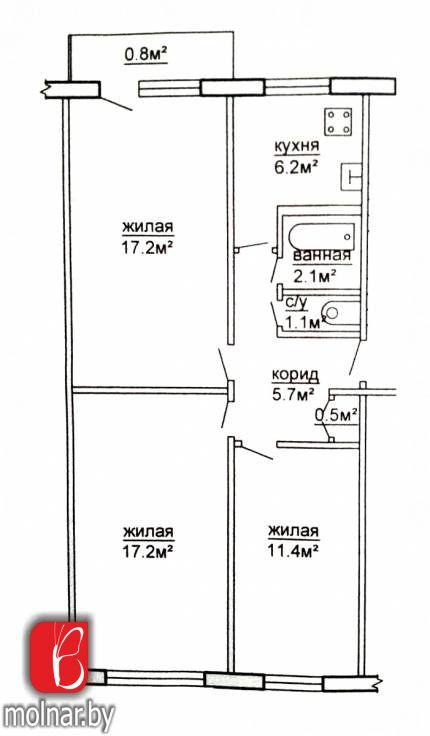 Продаётся 3-х комнатная квартира брежневской планировки в г.Гродно по ул.Домбровского,55