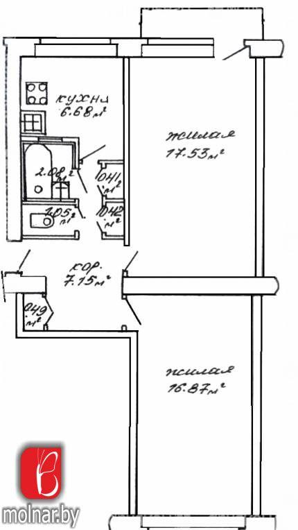 Продаётся 2-комнатная квартира в кирпичном доме возле метро