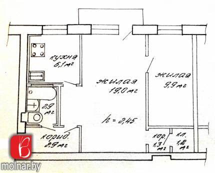 квартира 2 комнаты по адресу Минск, Лермонтова ул