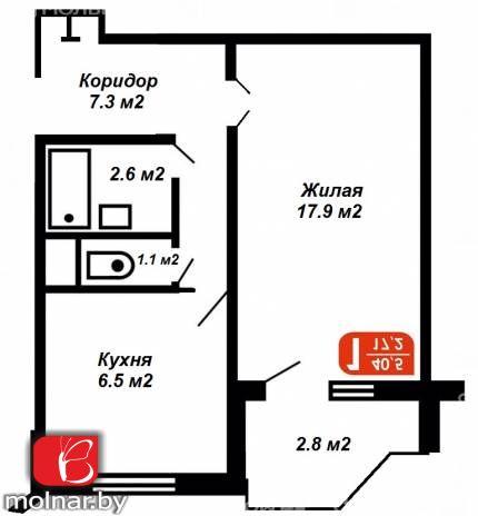 Продаётся  однокомнатная квартира по ул. Громова, д.46.
