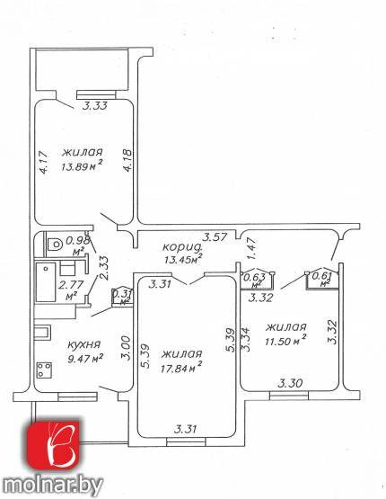 квартира 3 комнаты по адресу Минск, Бельского ул