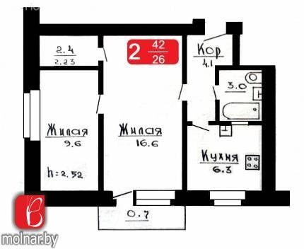 квартира 2 комнаты по адресу Гродно, Доватора  пер