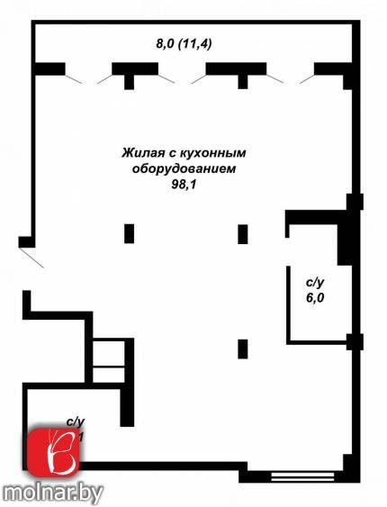 , 22  Просторная квартира свободной планировки без отделки,в многофункциональном комплексе Маяк Минска