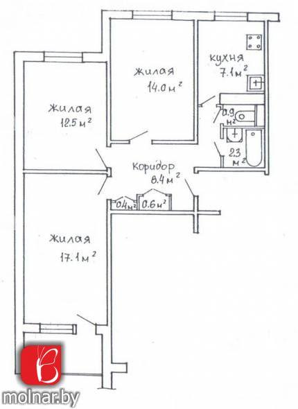 квартира 3 комнаты по адресу Минск, Никифорова ул