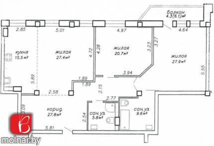 , 4  3-х комнатная квартира без отделки  в доме 2008 г, ул Тимирязева, 4