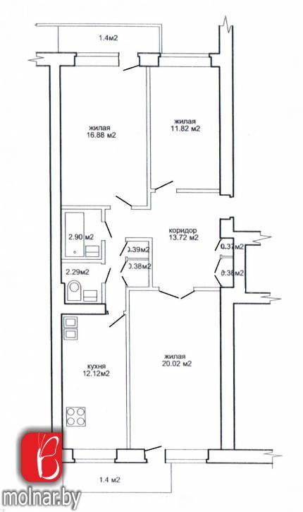квартира 3 комнаты по адресу Минск, Пулихова ул