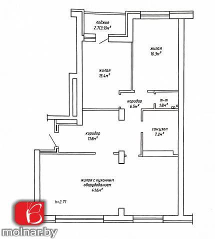 , 26  Продаётся 3-х комнатная квартира в новом кирпичном доме, ЖК Комаровское кольцо
