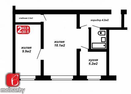 квартира 2 комнаты по адресу Минск, Жилуновича ул