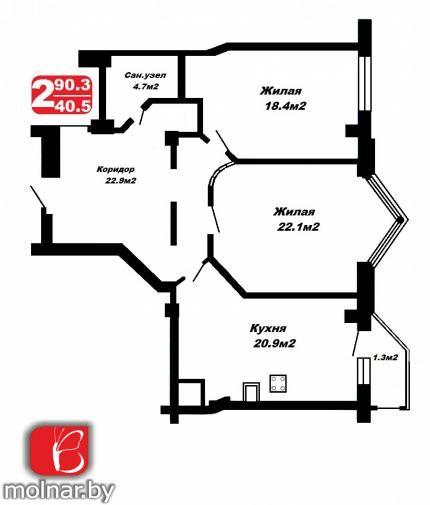 квартира 2 комнаты по адресу Минск, Чехова ул