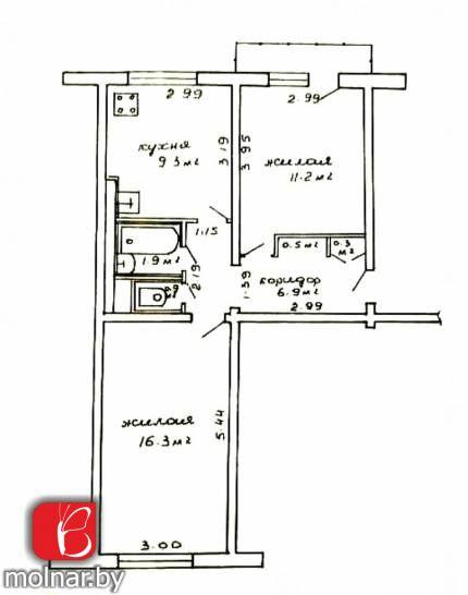 Продаётся двухкомнатная квартира в военном городке