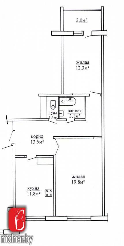 квартира 2 комнаты по адресу Гродно, Кремко  ул