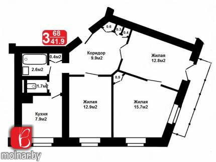 квартира 3 комнаты по адресу Минск, Красная ул