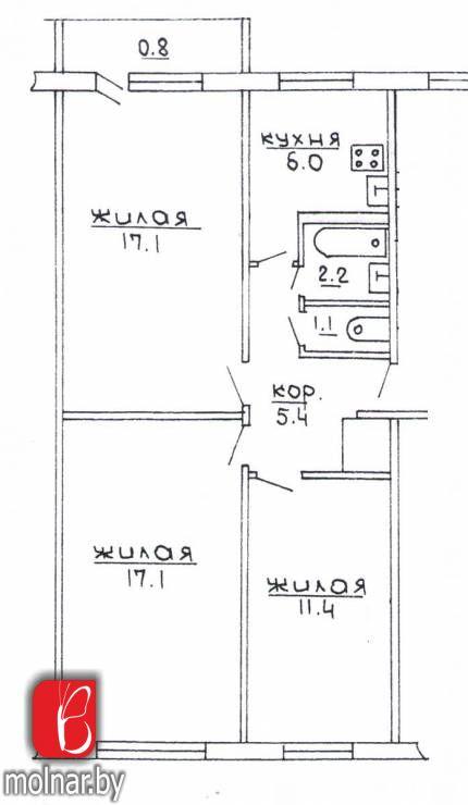 Продается квартира 3-х комнатная в г. Гродно по ул. О.Соломовой,36